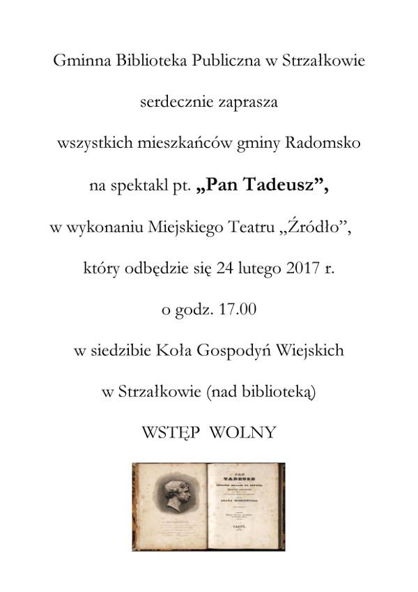 Pan Tadeusz ogłoszenie